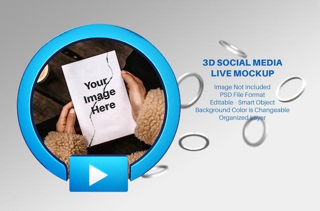 Maquete 3d de streaming ao vivo de mídia social do facebook com anéis voadores Psd Premium