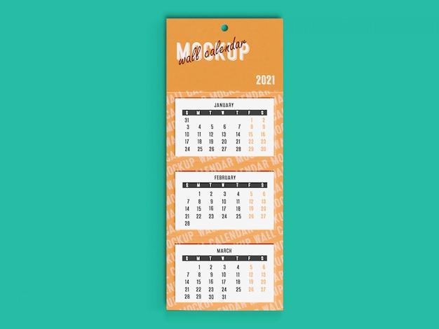 Maquete 3d do calendário de mesa de parede 2021 Psd Premium