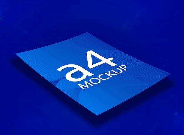 Maquete a4 azul Psd Premium