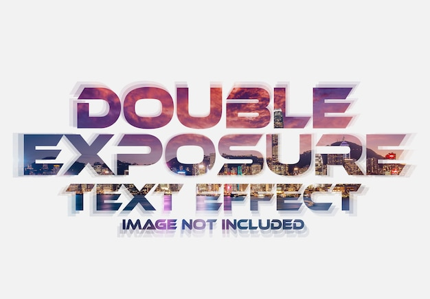 Maquete com efeito de texto de dupla exposição Psd Premium