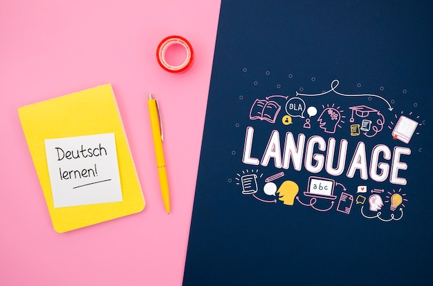 Maquete com mensagem inspiradora para aprender o idioma Psd grátis