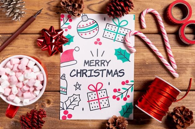 Maquete com presentes de natal e decorações rústicas Psd grátis