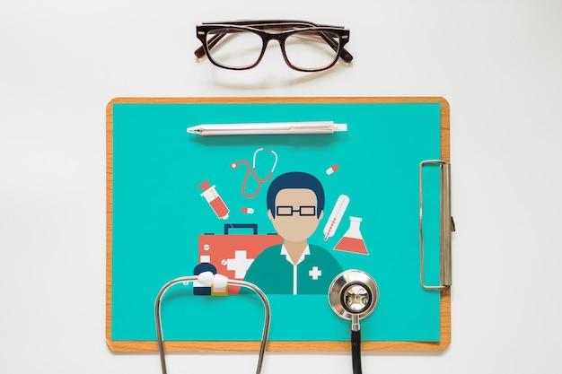 Maquete da área de transferência com o conceito de saúde Psd grátis