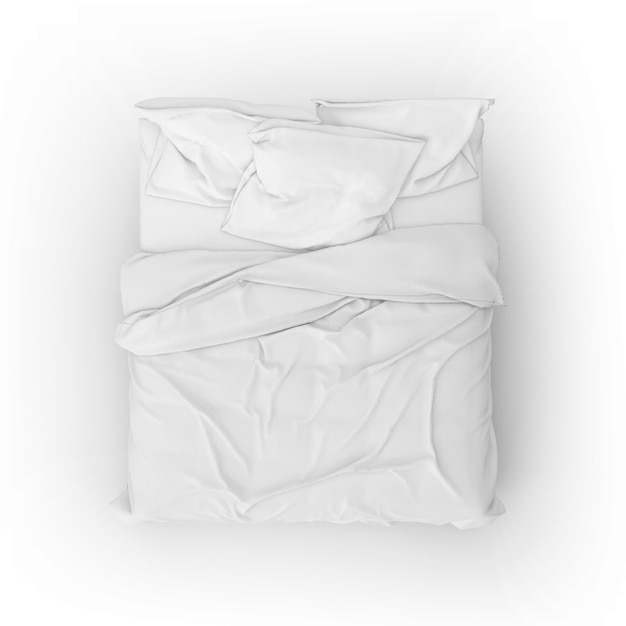 Maquete da cama com lençóis e travesseiros brancos Psd grátis