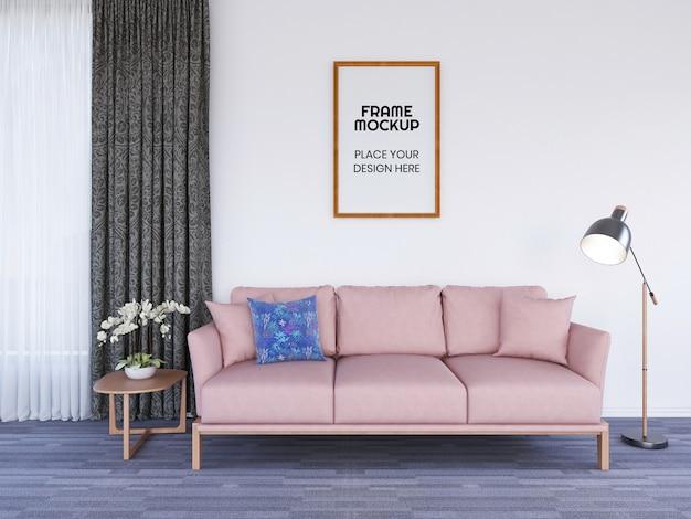 Maquete da foto da moldura da sala de estar interna Psd Premium