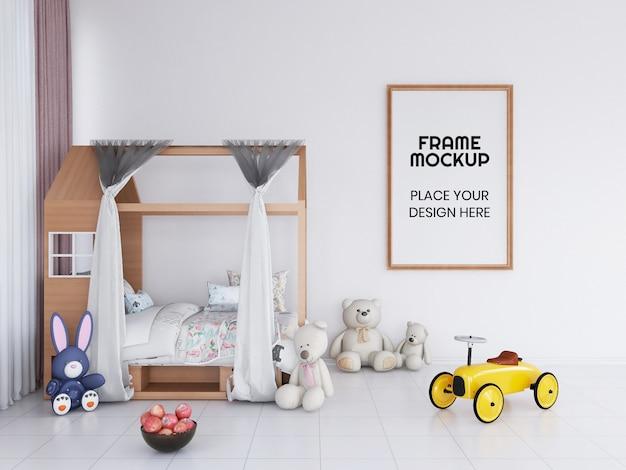 Maquete da foto da moldura do quarto infantil interior Psd Premium