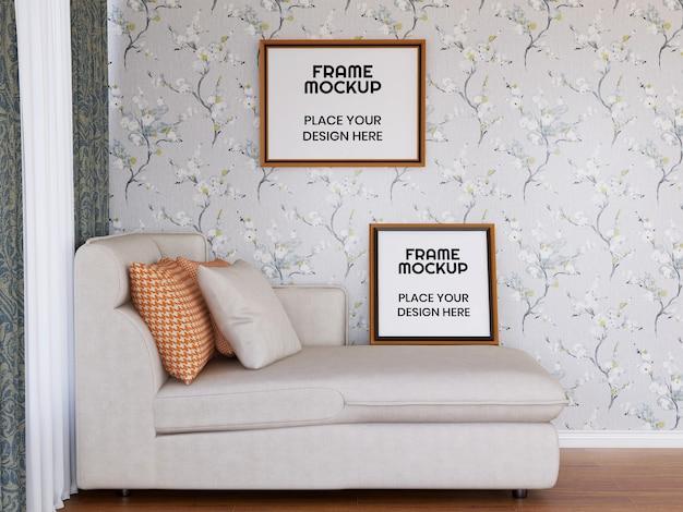 Maquete da moldura da foto da sala de estar interna Psd Premium