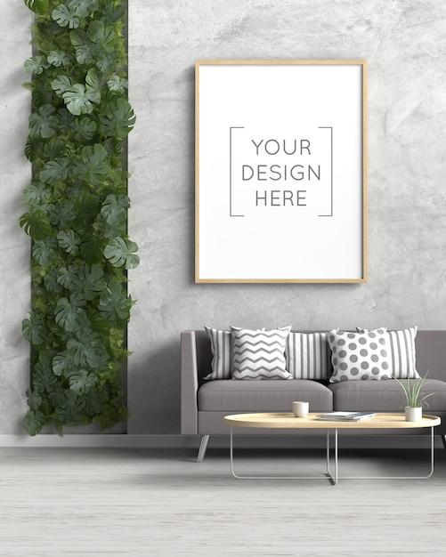 Maquete da moldura da foto no interior da sala de estar Psd Premium