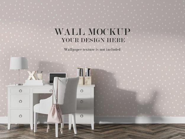 Maquete da parede da sala atrás de móveis brancos Psd Premium