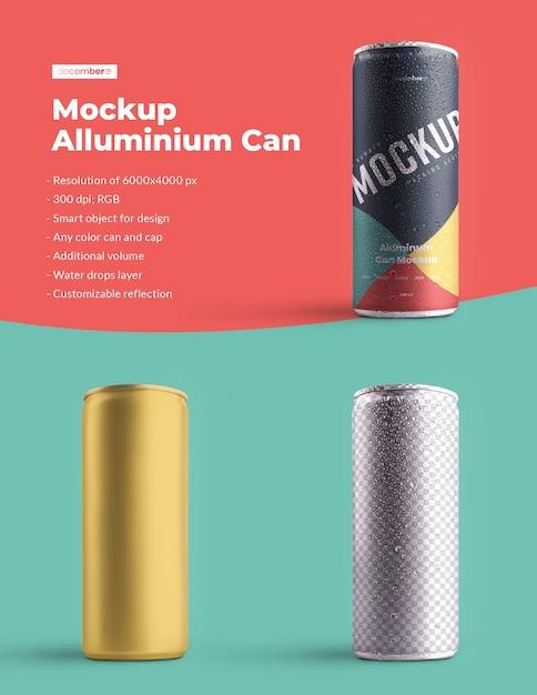 Maquete de alumínio pode 250 ml com gotas de água. o design é fácil de personalizar o design das imagens (na lata), cor de fundo, reflexo editável, lata e tampa colorida, gotas de água Psd Premium