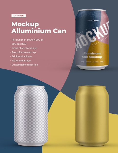 Maquete de alumínio pode 330 ml com gotas de água. o design é fácil de personalizar o design das imagens (na lata), cor de fundo, reflexo editável, lata e tampa colorida, gotas de água Psd Premium