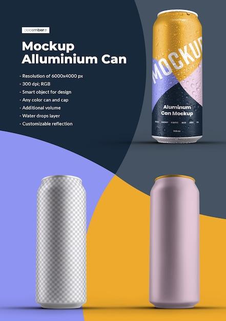 Maquete de alumínio pode 500 ml com gotas de água. o design é fácil de personalizar o design das imagens (na lata), cor de fundo, reflexo editável, lata e tampa colorida, gotas de água Psd Premium