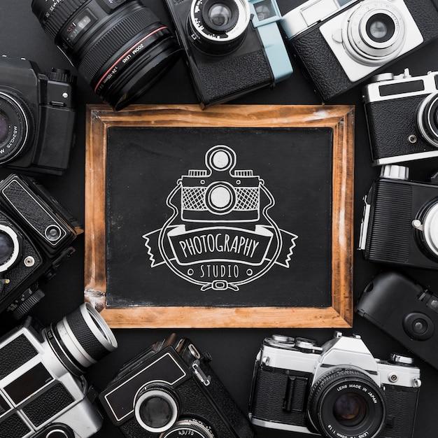 Maquete de ardósia com conceito de fotografia Psd grátis