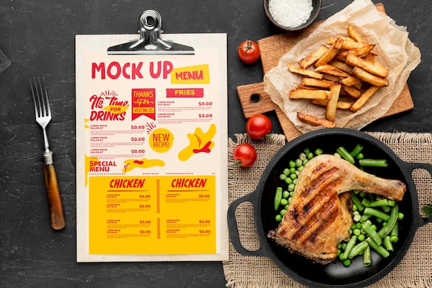 Maquete de arranjo de refeição de frango Psd Premium