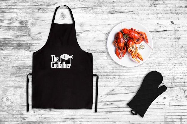 Maquete de avental de restaurante de frutos do mar Psd Premium