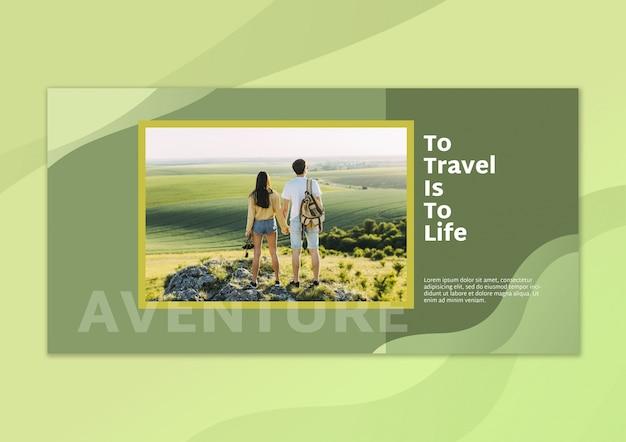Maquete de bandeira com imagem e conceito de viagens Psd grátis