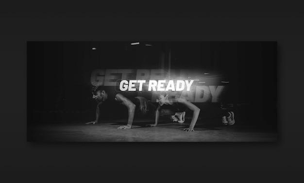 Maquete de banner de fitness escuro Psd Premium