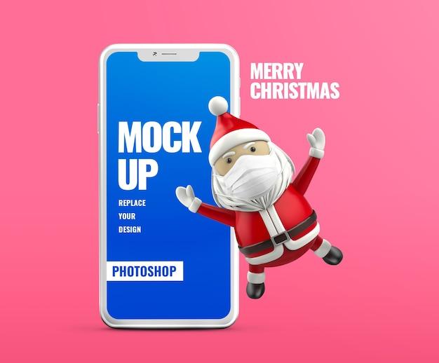Maquete de banner de publicidade móvel do papai noel Psd Premium