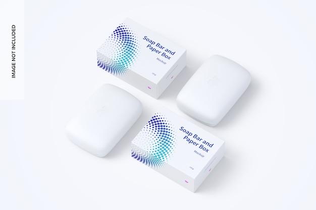 Maquete de barras de sabão e caixas de papel Psd Premium