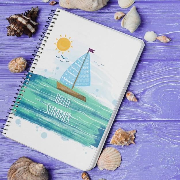 Maquete de bloco de leigos plana com elementos de verão Psd grátis