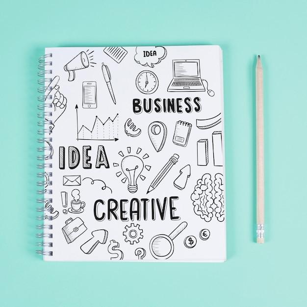Maquete de bloco de notas criativo Psd grátis