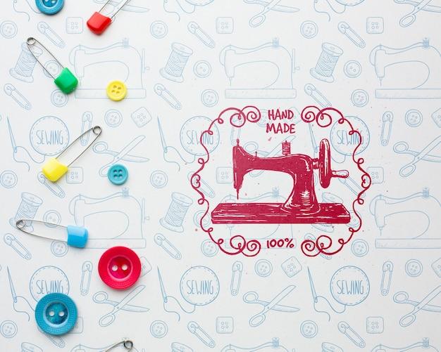 Maquete de bordado com máquina de costura Psd grátis