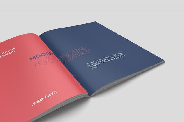 Maquete de brochura a4 closeup aberto Psd Premium