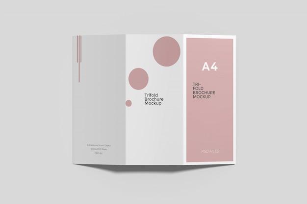 Maquete de brochura com três dobras a4 top angel view Psd Premium