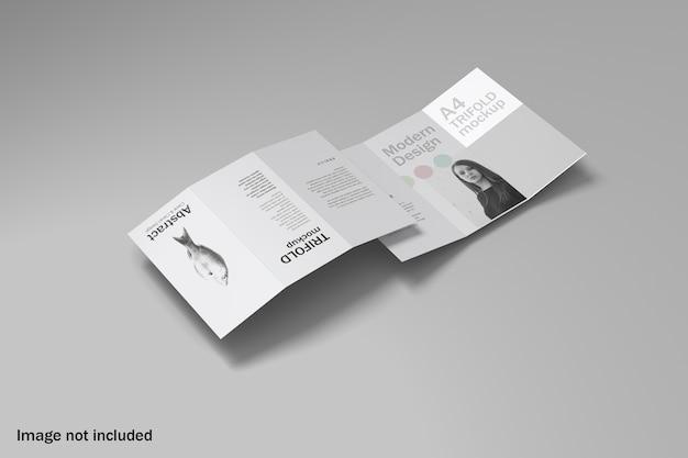 Maquete de brochura com três dobras duplas de vista superior Psd Premium
