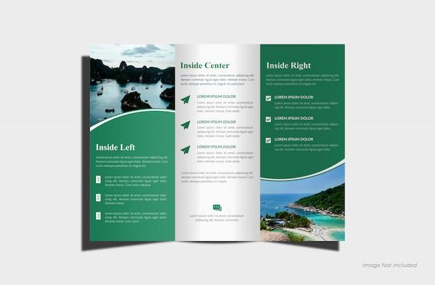 Maquete de brochura com três dobras realista Psd Premium