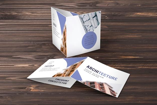 Maquete de brochura de negócios com três dobras Psd grátis