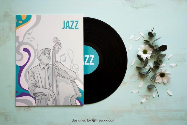 Maquete de brochura de vinil e jazz Psd grátis