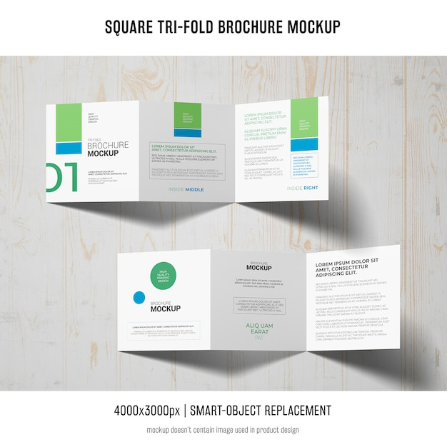 Maquete de brochura quadrada de três dobras Psd grátis