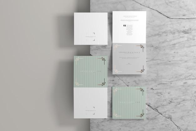 Maquete de brochura quadrada horizontal com duas dobras Psd Premium