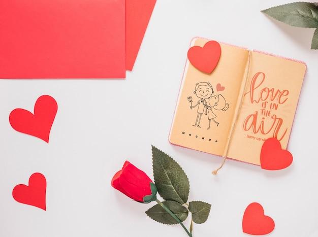 Maquete de caderno com conceito de dia dos namorados Psd grátis