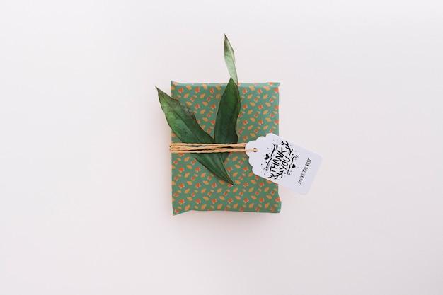 Maquete de caixa atual com folhas Psd grátis