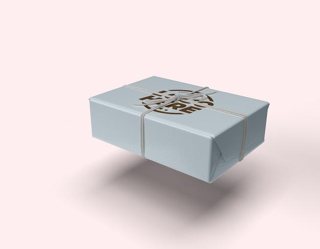 Maquete de caixa de corda amarrada com design de grafite isolado Psd Premium