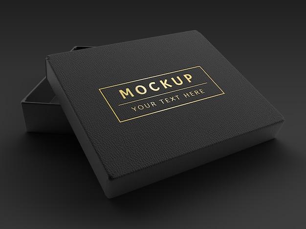 Maquete de caixa de couro preto de luxo de renderização 3d Psd Premium