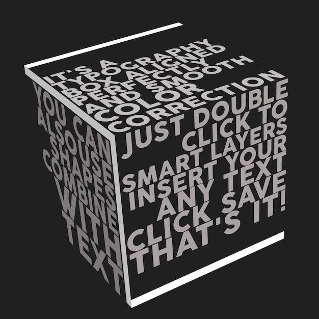 Maquete de caixa de tipografia Psd Premium