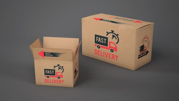 Maquete de caixas de entrega de tamanhos diferentes Psd grátis