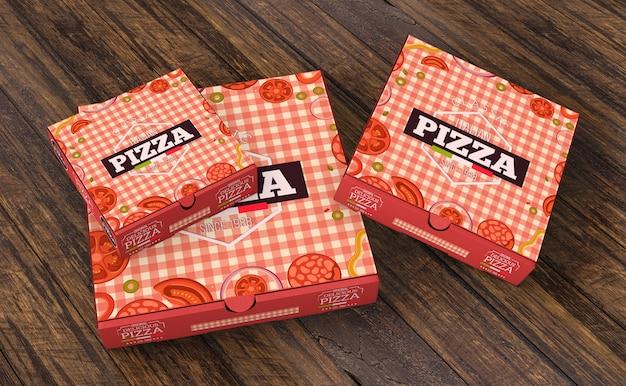Maquete de caixas de pizza em tamanhos diferentes Psd grátis