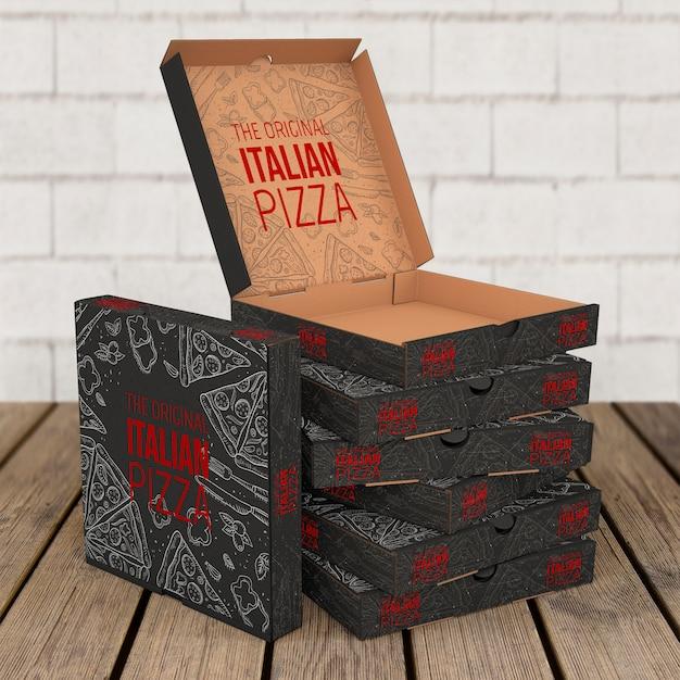 Maquete de caixas de pizza empilhadas Psd grátis