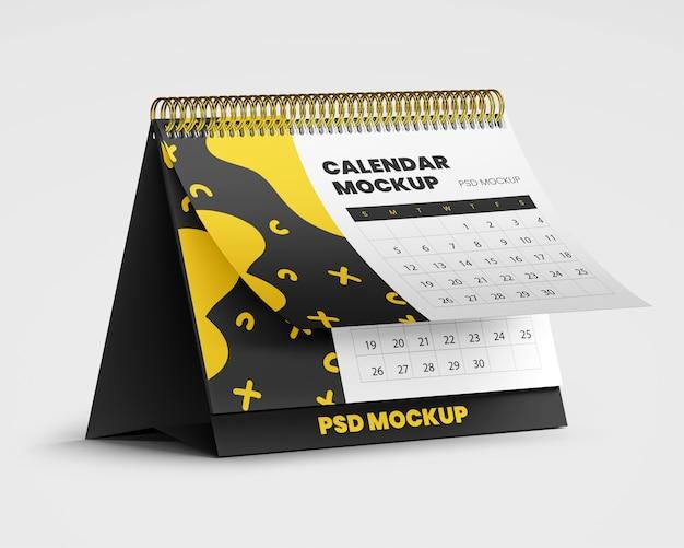Maquete de calendário de mesa em espiral Psd Premium