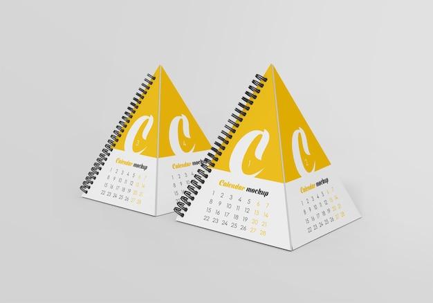 Maquete de calendário de mesa em pirâmide em espiral Psd Premium
