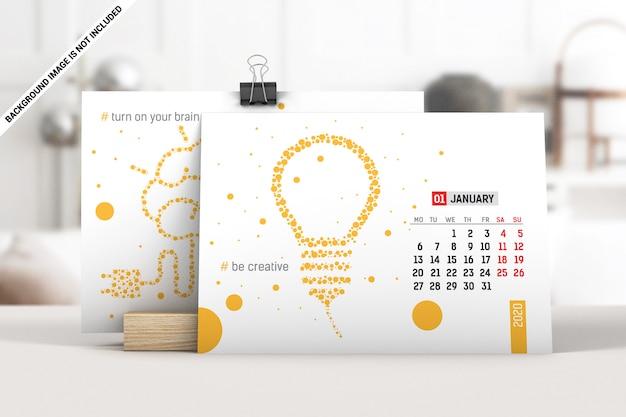 Maquete de calendário de mesa gorizontal Psd Premium