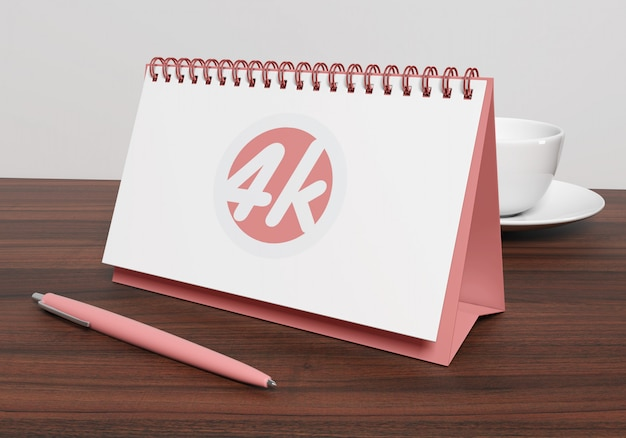 Maquete de calendário de mesa horizontal Psd Premium