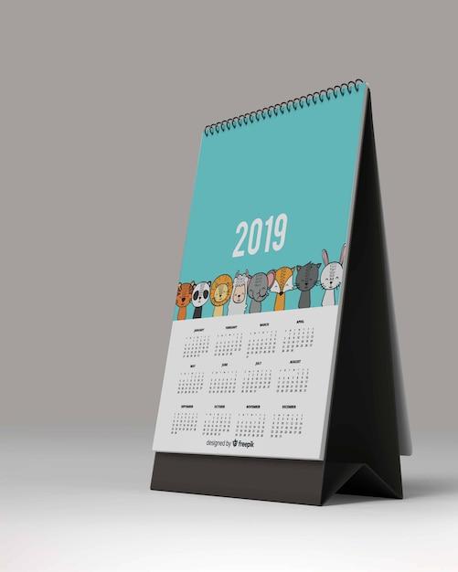 Maquete de calendário de mesa Psd Premium