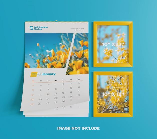 Maquete de calendário de parede com moldura Psd Premium