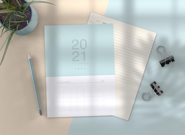 Maquete de calendário minimalista Psd Premium