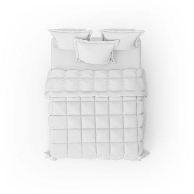 Maquete de cama com edredom branco e almofadas Psd grátis